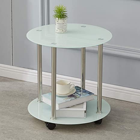 Clipop 2 Tier Small Glass Coffee Table Sofa Side End Tea Tables