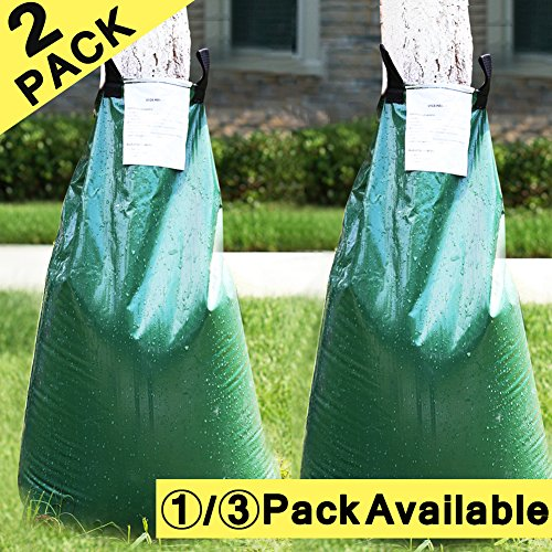 cyrico Tree Watering Bag Premium 2 Pack 20 Gallon Watering Bag for Tree Made of Sturdy PVC With Heavy Duty Zipper Slow Releasing Tree Watering Bag Automatic Watering Tree (2) (Green Equipment Lawn)