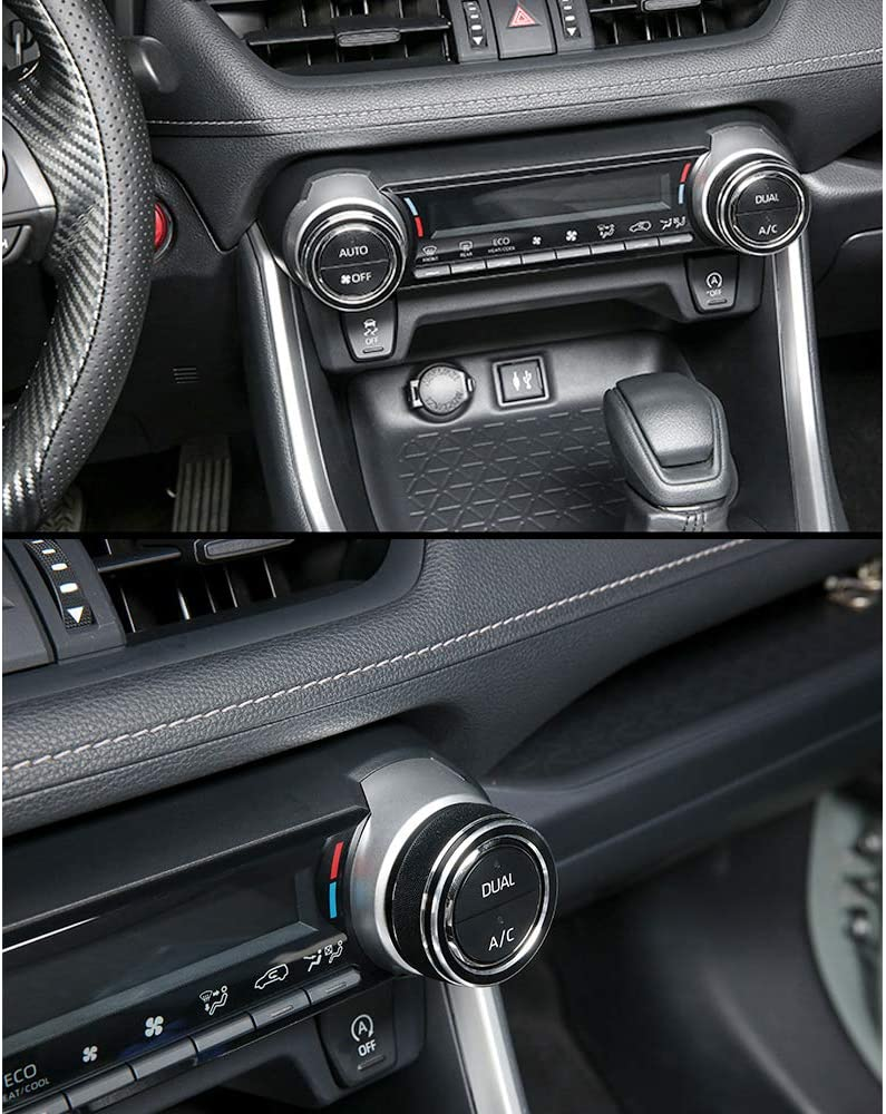Thor-Ind Centre Console AC Air Conditioning Knob Cover Trim Ring for Toyota RAV4 2019 2020 Black