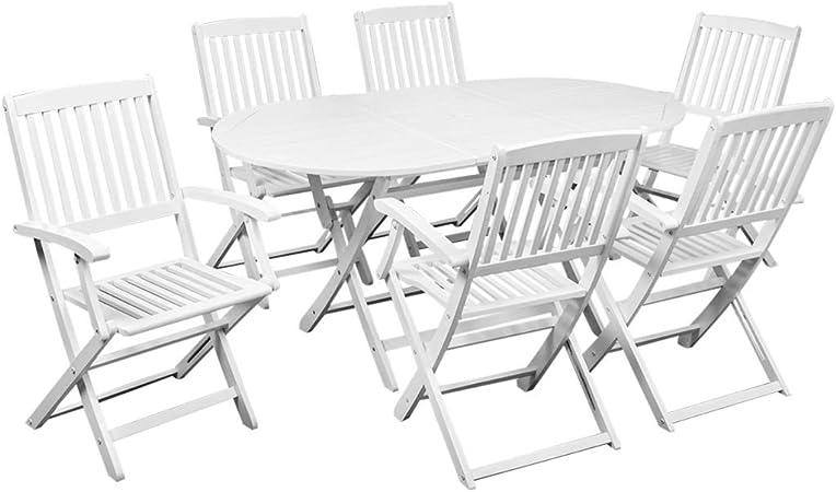 Sedie Da Giardino Bianche.Vidaxl Set Da Pranzo Giardino 7pz Tavolo E Sedie Pieghevoli