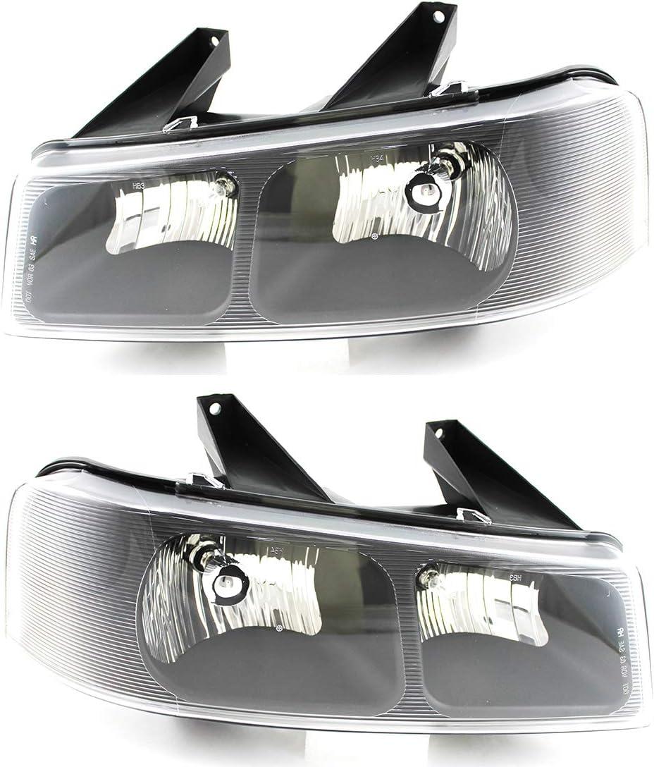 Headlights Headlamps Pair Set of 2 LH /& RH for 03-19 Savanna Chevy Express Van