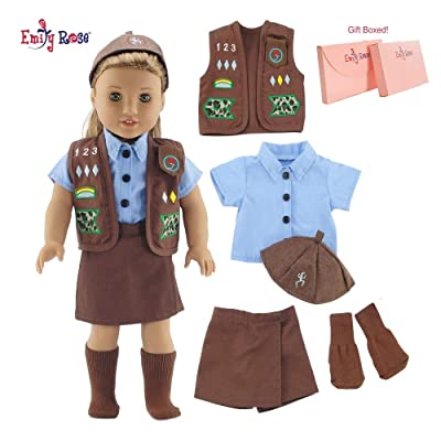 "Emily Rose 18 Inch Doll Clothes for American Girl Dolls | Doll Brownie Girl Scout Modern 5 Piece Uniform Outfit with Skort! | Gift Boxed! | Fits 18"" Our Generation and Journey Girls Dolls: Toys & Games"