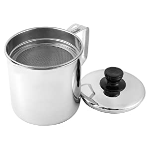 Tebery Stainless Oil Storage Grease Strainer Pot 1.9 Quart