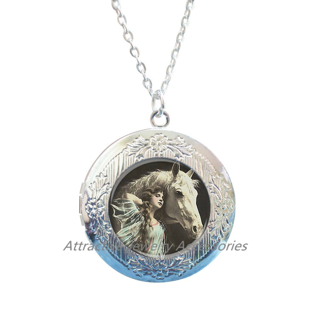 Horse Locket Necklace,Horse Lovers Gift Jewelry Horse Locket Necklace Horse jewelry nature Locket Necklace,QK058