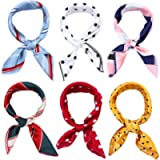 6 Pcs Silk Satin Scarf for Women Square Scarf Elegant Small Vintage Head Neck Scarf Hair Scarf Accessories