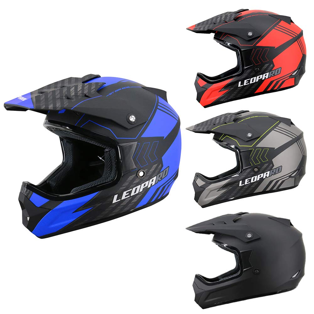 11cm 61-62cm + Gloves S + Goggles MX Quad ATV Sports Enduro Crash Helmet ECE 22.05 Certified Leopard LEO-X307 Motocross Helmet Matt Black//Red XL