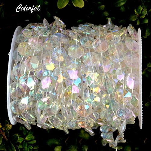 Easter Wedding (98Ft Acrylic Crystal Hanging Beads String for Wedding,Chandelier,Christmas Party Decorations,1 Roll,Colorful)