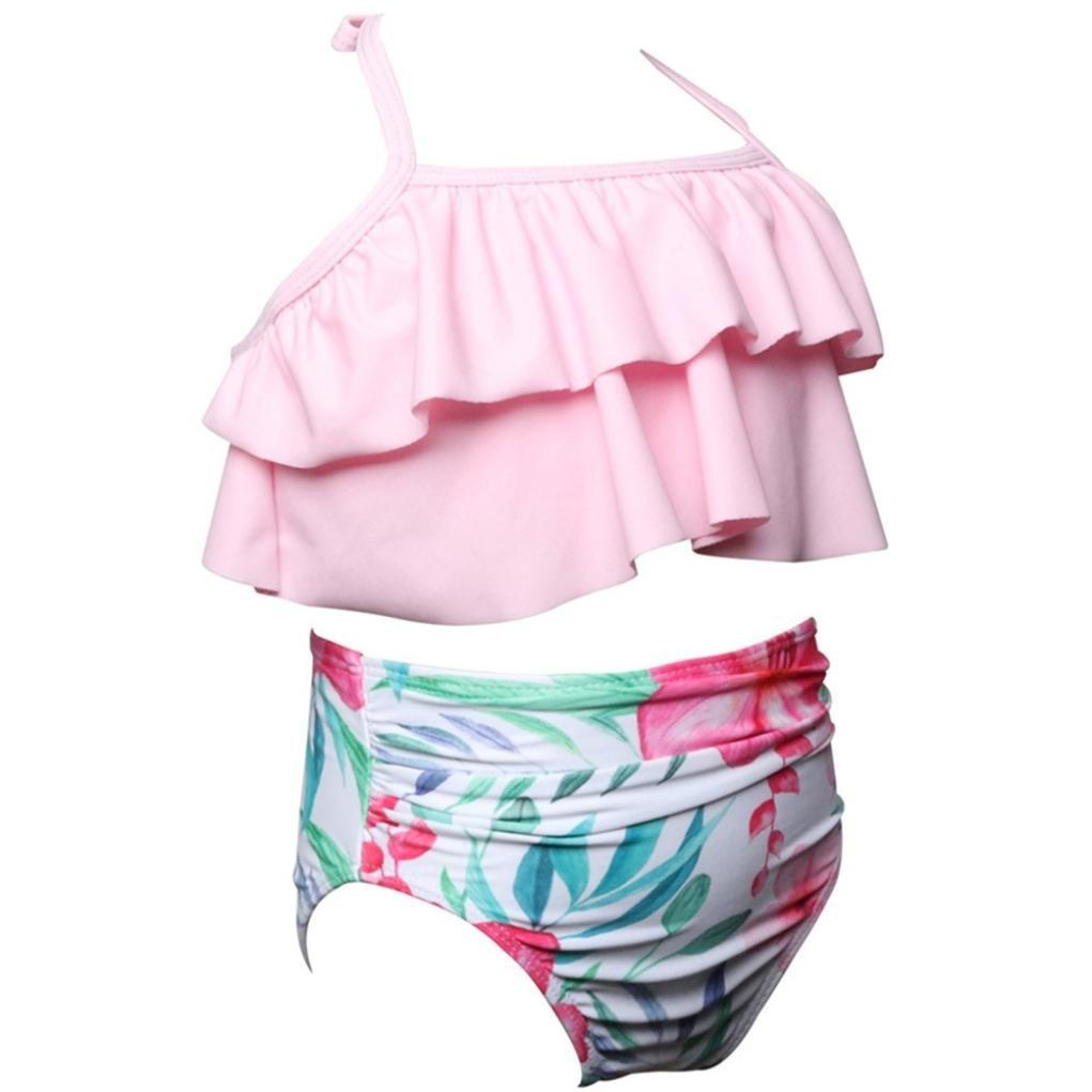 Zerototens Infant Girls Bathing Suit,2Pcs Toddler Baby Girls Summer Ruffles Swimwear Bathing Bikini Set Outfits Swimsuit Beachwear for 2-6 Years Old Kids