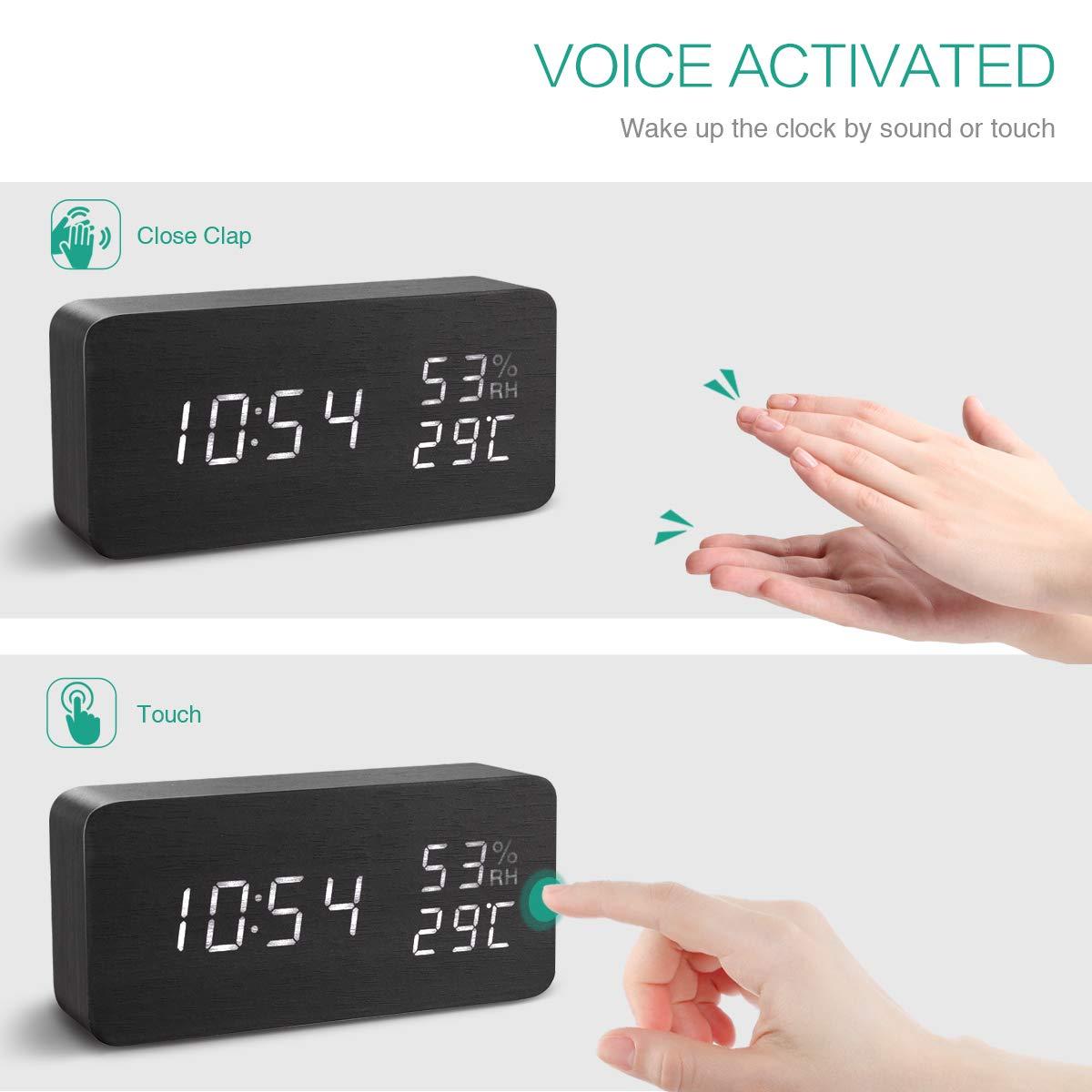 ORIA Reloj Digital Despertador de Madera, Digital Alarma Despertador con Tiempo Fecha y Año, Temperatura Humedad, 3 Grupos de Hora de Alarma, ...