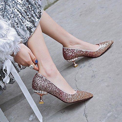 Jqdyl Shallow High Heels Frauen Singles Schuhe Spitz Shallow Jqdyl Mouth Fashion Gold 5b826b