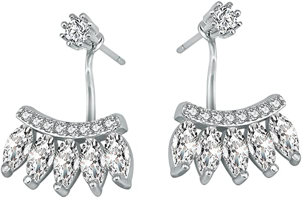 925 Sterling Silver Cubic Zirconia Cz Front Back Bar Post Stud Earrings Drop Dangle Fine Jewelry For Women Valentines Day Gifts For Her