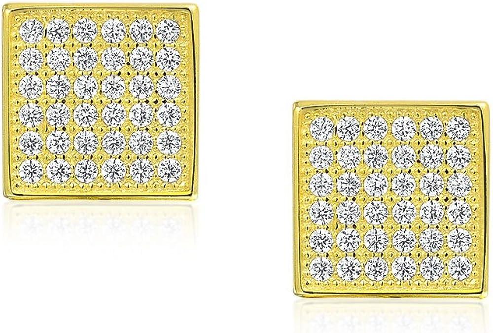 Forme De Carr/é G/éom/étrique Zircone Cubique Micro CZ Clous Et Puces DOreille Pour Femme Homme 14K Plaqu/é Or 8MM