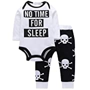 QIANMEI Toddler Baby Boy Long Sleeve Letter Printed Top Romper and Skull Long Pants Outfits Set
