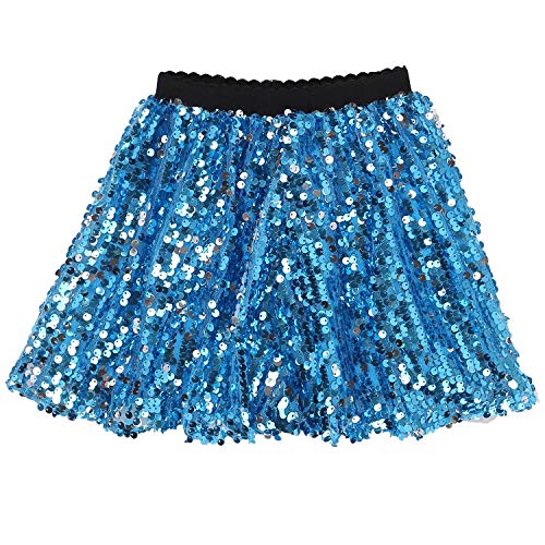 Flofallzique Toddler Sequin Skirts with Elastic Waistband Girls Mini Skirt for 1-12 Years Old (12T, Blue)