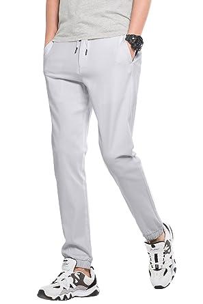 21b7b2caf2e5f INFLATION Pantalon Jogging élastique Homme, Style effilé, Pantalon Sportif  Multifonctionnel, Gris Clair,