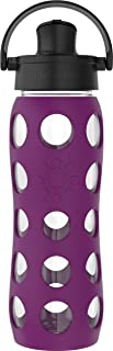 product image for Lifefactory 22 Oz Glass Active Flip Cap/Silicone Sleeve Water Bottle, 22 Ounce, Plum