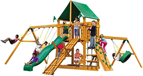 Gorillaplay Sets Home Backyard Playground Frontier Swing Set with Amber Posts and Deluxe Green Vinyl Canopy