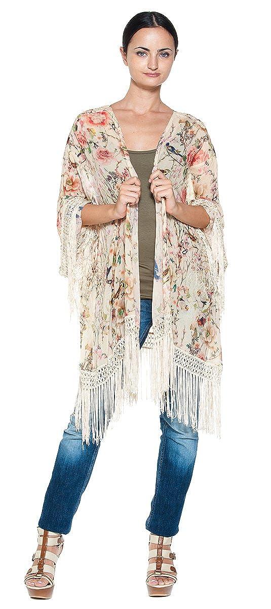 90e08b90f Women's Chiffon Asian Floral Bird Leaf Print Fringe Kimono Wrap Jacket  Blouse at Amazon Women's Clothing store:
