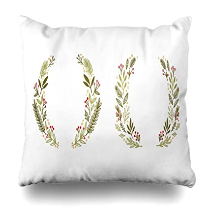 Amazon.com: DIYCow Throw Pillows Covers Christmas Holly ...