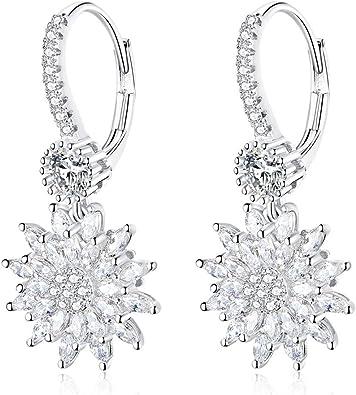 Snowflake Gemstone Drop Sterling Silver Hoop Earrings Women/'s Gift For Her