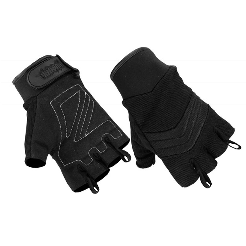 Men's Air Cooled No Sweat Knit Extreme Comfort Fingerless Riding Gloves (Large, Black)