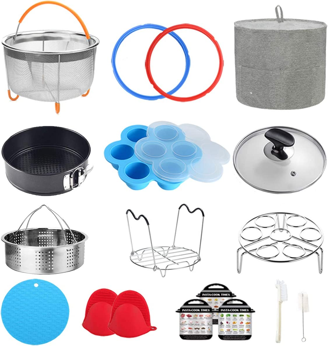 Pressure Cooker Accessories Compatible with Instant Pot 6 Qt - Steamer Basket, Dust Cover, Glass Lid, Silicone Sealing Rings, Egg Bites Mold, Springform Pan, Egg Steamer Rack and More