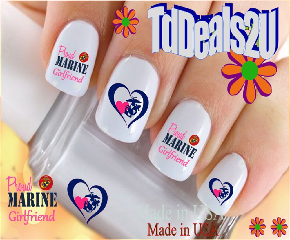 Military - Marine Girlfriend Heart Pink Nail Decals - WaterSlide Nail Art  Decals - Highest Quality