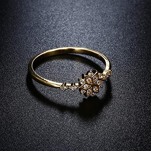 Uscharm Golden Rings for Girls Fashion Ring Snowflake Engagement Gift Set With Diamond Ring (GD10) by Uscharm (Image #3)