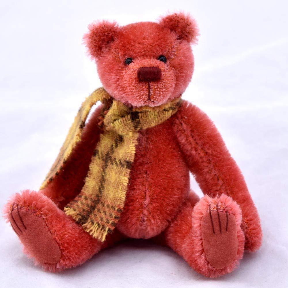 Iron Broo Teddy Bear Dark Orange Miniature Mohair Artist OOAK Collectable 5 1//2 inches