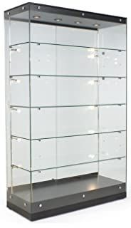 High Quality Displays2go Tall Illuminated Glass Showcases, Tempered Glass Painted MDF,  Convertible Shelves U2013 Black (