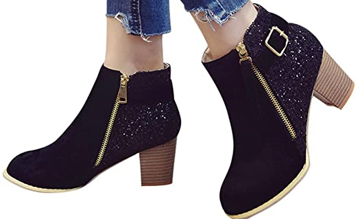 Amazon.com: Faionny Women Thick Ankle Boots Side Zipper Boots Round Toe Shoes Fashion Sequins Flat Boots Warm Snowshoes: Clothing