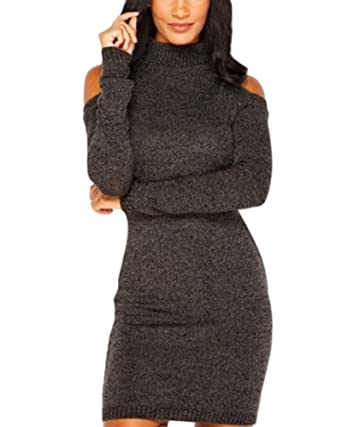 8a38d2ad9b5 Engood Women s Solid Turtleneck Cut Out Cold Shoulder Ribbed Knit Slim  Pullover Sweater Jumper Dress Brown