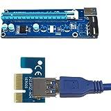 0.6 M USB 3.0 PCI-E Express 1 X a 16 X Extender Riser Tarjeta de adaptador con cable de alimentación SATA
