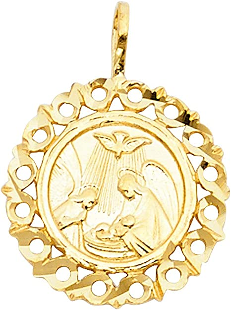 Wellingsale 14K White Gold Polished Ornate Religious Baptism Charm Pendant
