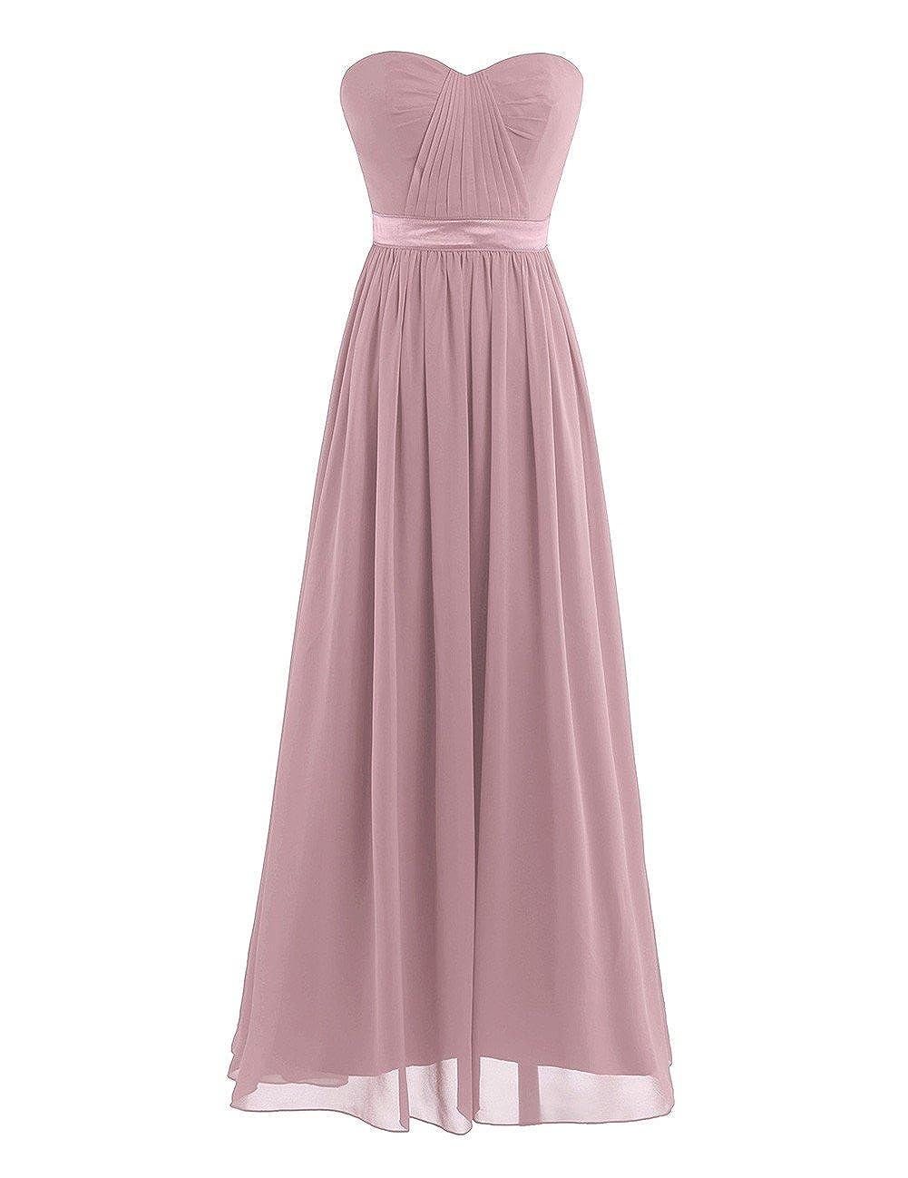 Tiaobug Damen Kleid Elegant Abendkleider Lang Chiffon Brautjungfernkleid festlich Hochzeits Kleider Cocktailkleid