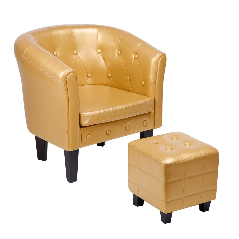 CCLIFE Poltrona cuoio Chesterfield poltrona vittoriana poltrona vintage in pelle due colori:marrone,oro Sgabello Colore:Oro