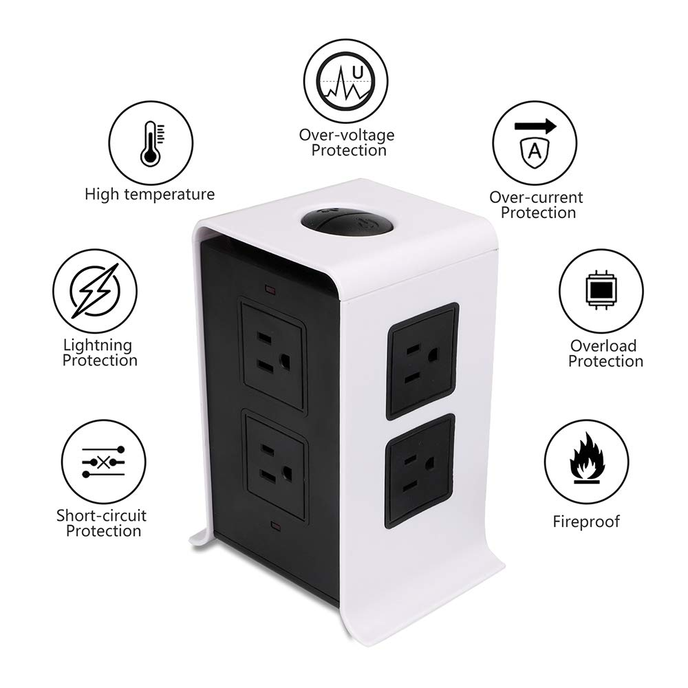 Power Strip Tower Surge Protector Electric Charging Station 10Ft Cord Wire Extension 3000W 13A 16AWG 8 Outlet Plugs with 4 USB Slot Universal Socket for PC Laptops Mobile