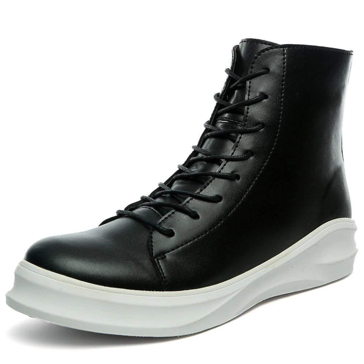 Fuxitoggo Hip-Hop Style Herren Baumwolle Stiefel Plus Samt Dicke Warme Baumwolle Schuhe (Farbe   BrightLeather, Größe   EU 40)