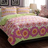 Twin Size Teen Kids Girls Floral Pink Green Quilt Bedding Set with Shams Includes Scented Candle Tarts