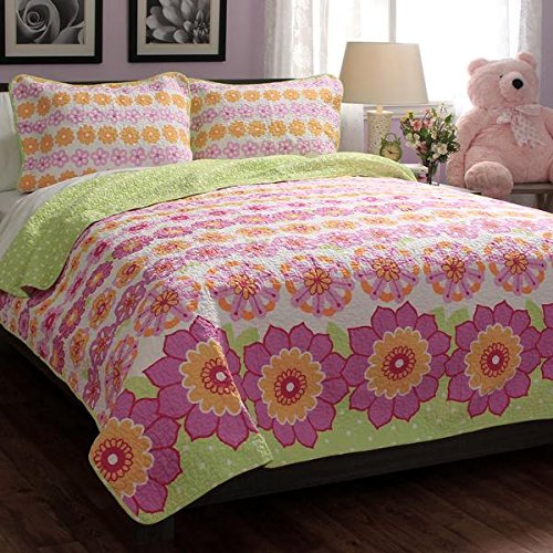 Twin Size Teen Kids Girls Floral Pink Green Quilt Bedding Set