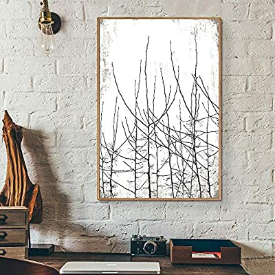 Framed Canvas Wall Art for Living Room, Bedroom Tree Illustration V Canvas Prints for Home Decoration Ready to Hang - 16x24 inches