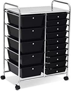 COSTWAYUS Plastic Boxes COSTWAY 15 Drawer Rolling Organizer Cart Utility Storage Tools Scrapbook Paper Multi-Use, Black