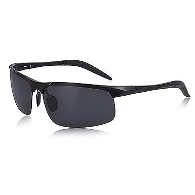 636431c7c71a4 SUNGAIT Men s HD Polarized Sunglasses for Driving Fishing Cycling Running  Metal Frame UV400 (Black