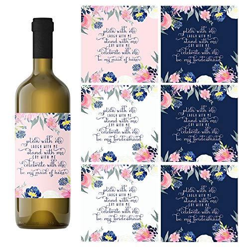 (Bridesmaid Wine Bottle Labels (Set of 7 Stickers - 2 Maid of Honor + 5 Bridesmaids) Blush and Navy)