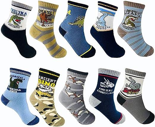 LUKAER Kids Cotton Crew Socks Boys Car Dinosaur Patterned Socks Colorful Fashion Sport Socks 5//10 Pairs