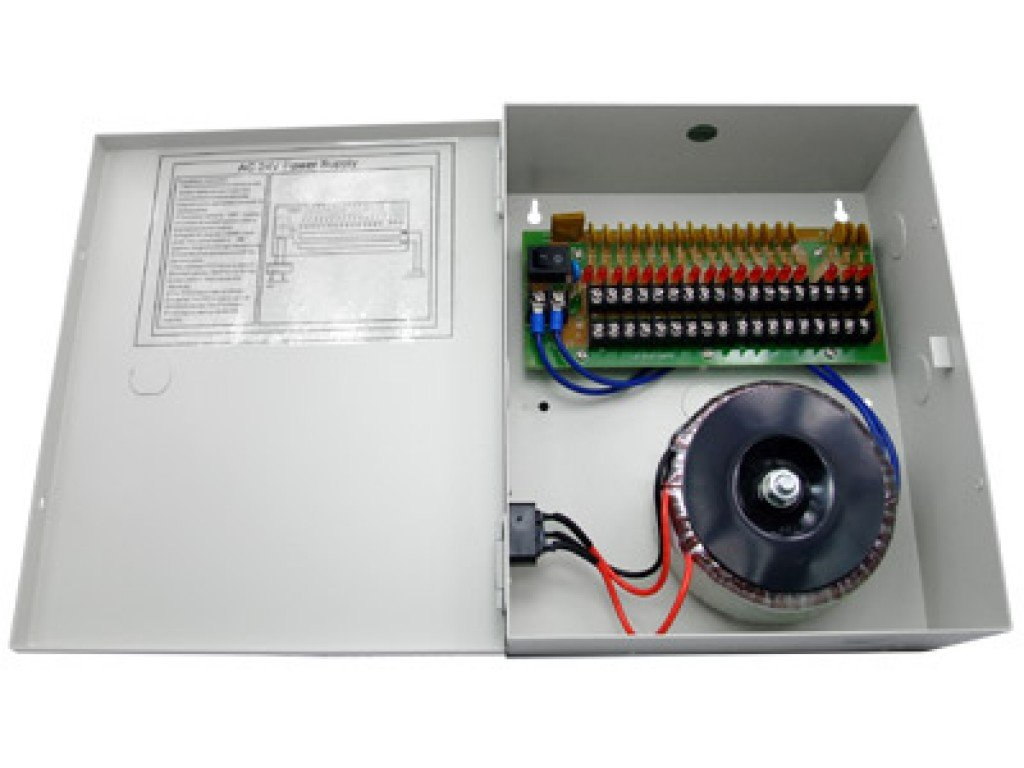 HDView CCTV Distributed Power Supply Box for Security Camera, PTC Resetable Fuse [no Fuse Burn], Key Lock (18 Ports 10Amp, 24V AC Power)