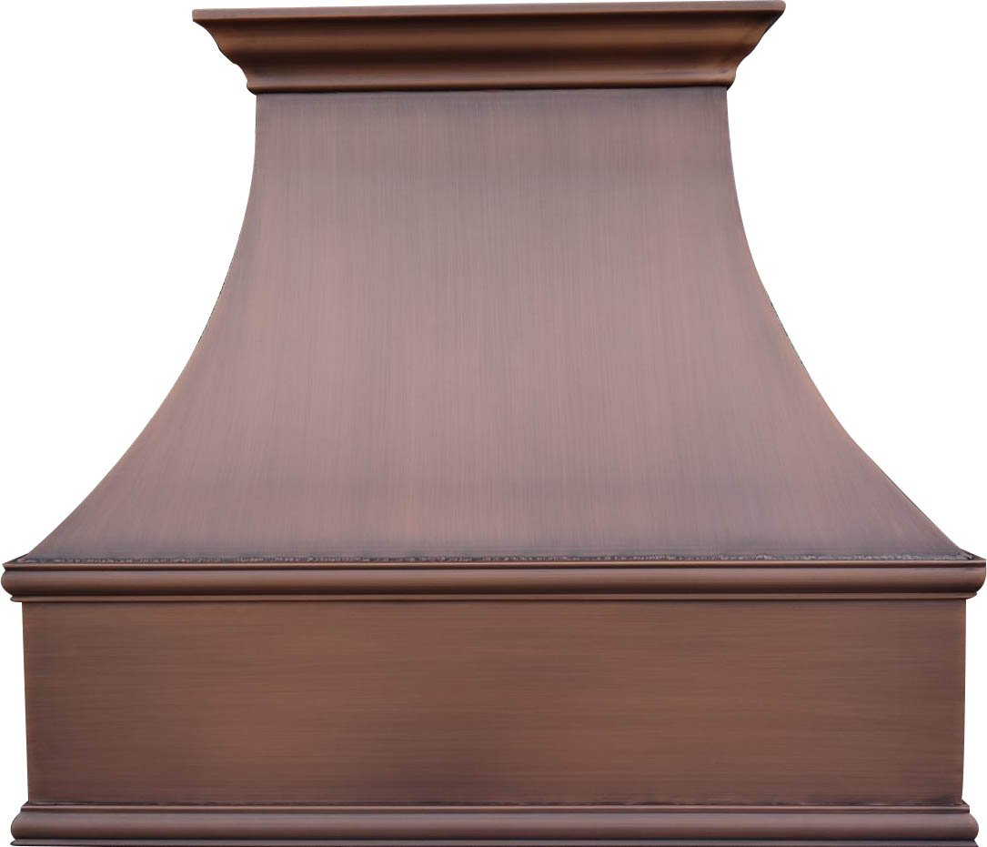 Sinda H7S Copper Range Hood with Professional Insert, Smooth Texture with Antique Copper Patina