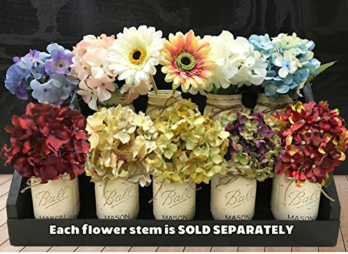 HYDRANGEA or GERBERA DAISY FLOWER to accessorize with our Handmade Mason Canning Pint Ball JARS in a Distressed Wood DRAWER *Make a beautiful CENTERPI…