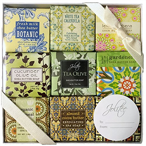 French Milled Botanical Soap Sampler Set in Nine Fabulous Scents, Individually Wrapped Vegetable Based Mini Soaps with Essential Oils, Shea Butter and…