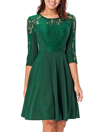 1c2714fa8c8 Noctflos Emerald Green 3 4 Sleeve Elegant Lace Cocktail Dress for Women  Wedding Party